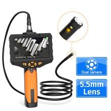Caméra Endoscope industriel 5.5 P HD, 1080 MM, double objectif, étanche, caméra serpent LCD 4.5 pouces avec carte TF 32 go