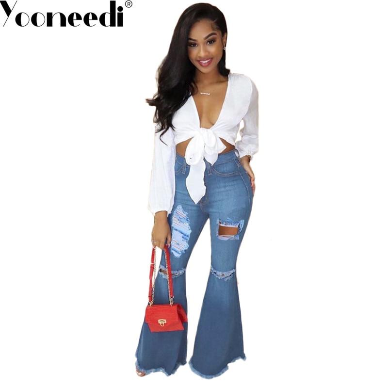 Yooneedi 2019 novedad diseño de moda mujer Jeans sólido agujero desgastado pantalones de Mujer Vaqueros LM8088
