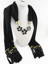 Classic  3 black flower pendants scarf alloy black flower picture oil necklace ornament pendant scarf lady no 3 stylish zinc alloy scorpion pendant necklace brass black