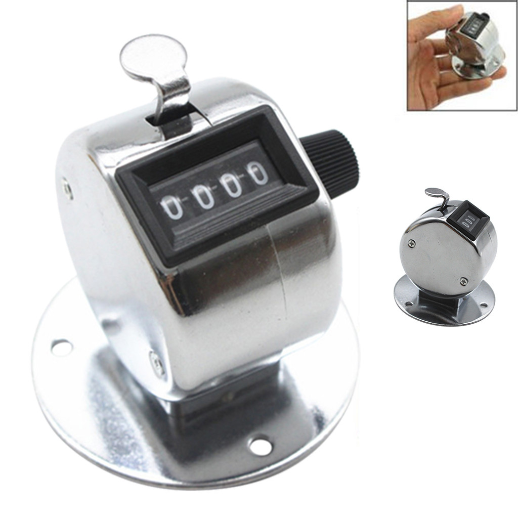Hand Tally Counter With Base Digit Finger Ring Desktop Silver Tally 4 Digit Palm Counters Clicker Measuring Tool