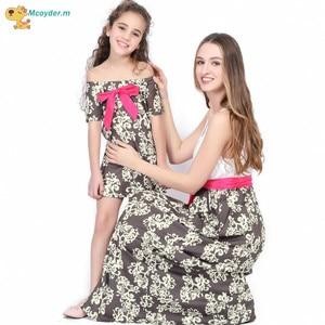 Летние платья для мамы и дочки; Одинаковые комплекты для семьи; Платье с цветочным рисунком для мамы и дочки; Платье для девочек; vestido; Вечерн...