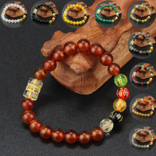 Mixed-color carnelian Stone Beads With Tibetan Buddhism Mantra Totem Charm Bracelet For Man Woman Om Mani Padme Hum Jewelry