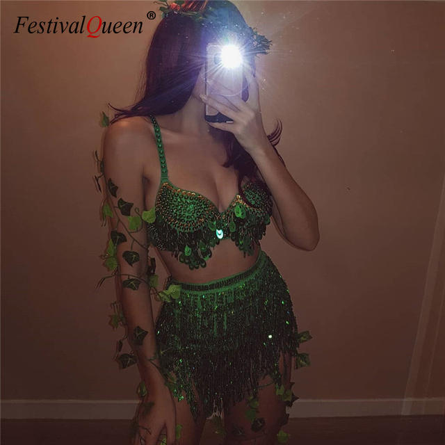 Sparkle Sequins Sexy 2 Piece Outfits Backless Low Cut Bra Crop Tops Bandage Long Tassel Mini Skirts Women Clubwear Matching Sets 1