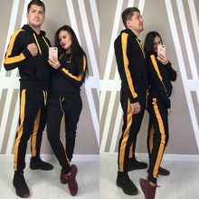 ZOGAA Women and Men Hooded Tracksuit Couple Casual Side Striped Patchwork 2 Piece of Set Large Size Fashion Sports Suit 2019 Hot