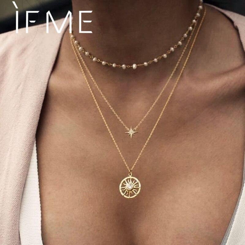 IF ME – collier ras du cou en perles Vintage pour femmes, chaîne de perles, pendentif Long, pièce de monnaie, étoile du soleil, à la mode, bijoux de fête, nouvelle collection 2021
