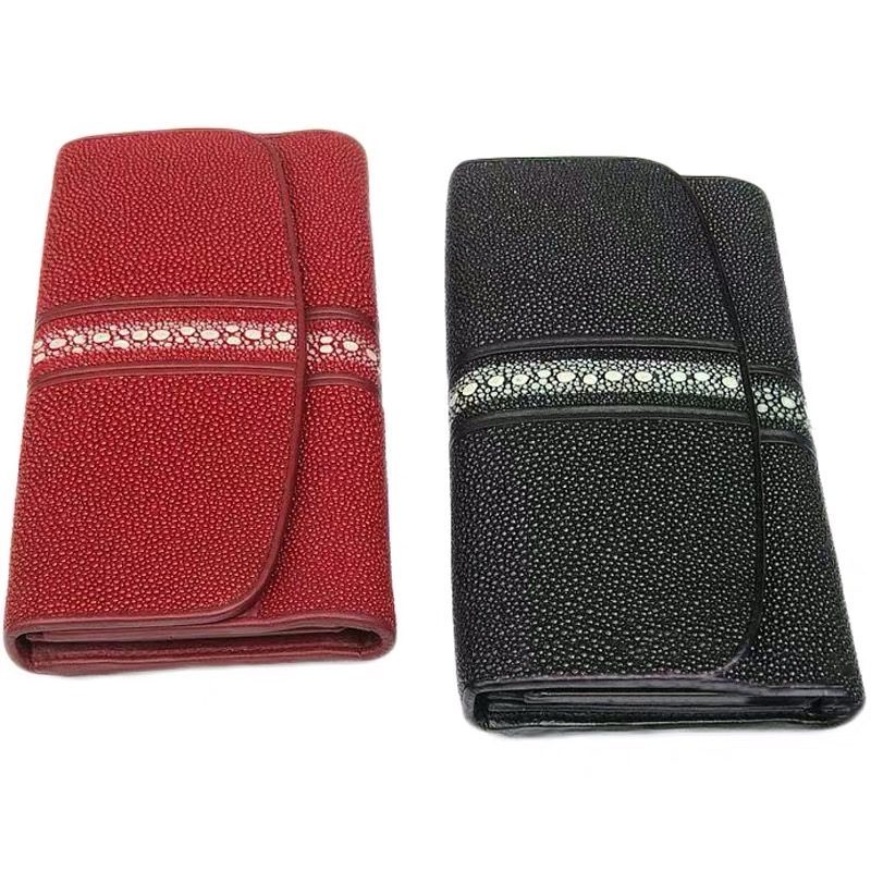 Unisex Style Authentic Stingray Skin Men's Long Black Trifold Wallet Exotic Genuine Leather Dark Red Female Large Clutch Purse