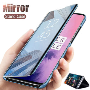 Clear View Mirror Flip Leather Case for Oneplus 7 Pro 7T Cover Stand phone Cover for Oneplue 6T 7 Pro Protective Flip Case Cover(China)
