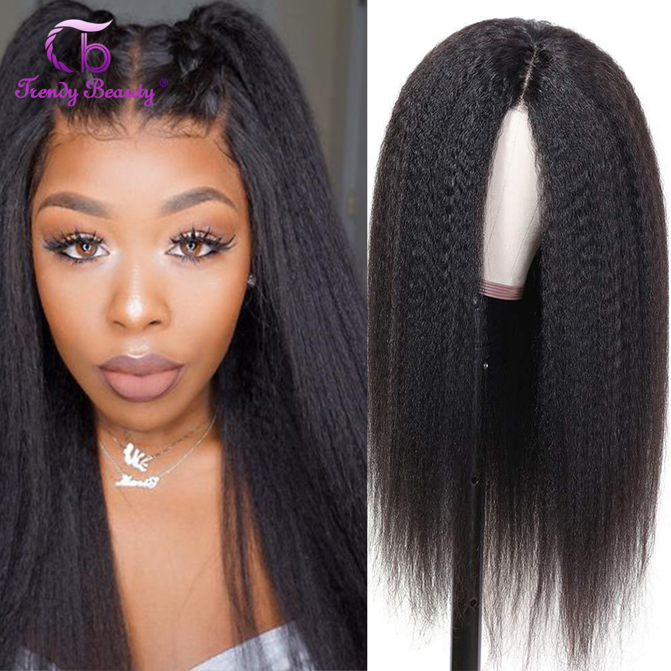 Kinky Straight Hair 4x4 Lace Closure Wig 180 For Black Women 5x5 Lace Closure Wigs Remy Peruvian Yaki Human Hair Lace Front Wigs