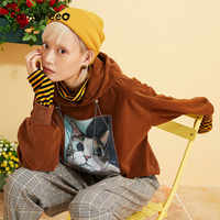 Samstree gato impressão vindag coreano veludo hoodies moletom feminino 2019 outono streetwear lazer senhoras oversize sweatshirts