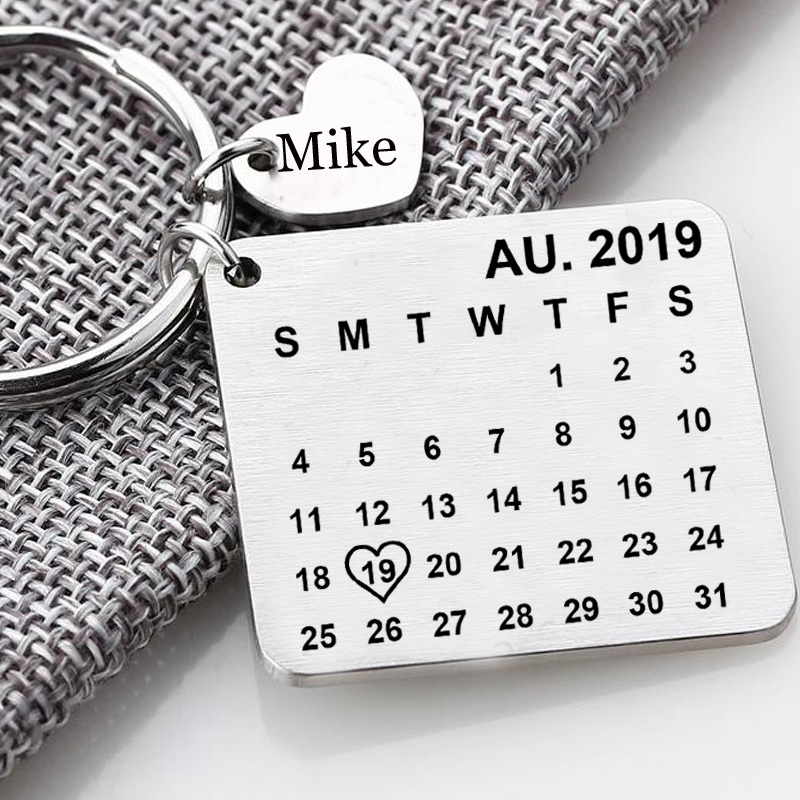 Personalised Calendar Keyring Save The Date Keychain Anniversary Wedding Valentine's Day Women Men Gift