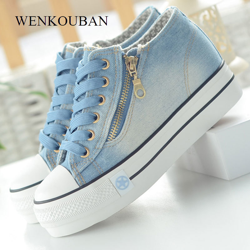 Woman Sneakers Summer Platform Shoes Fashion Vulcanize Shoes Casual Wedges Canvas Trainers Ladies Lace Up Denim Zapatillas Mujer