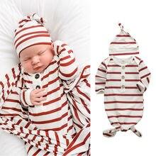 Pudcoco, 2 предмета, от 0 до 6 месяцев, одежда для сна для новорожденных мальчиков и девочек хлопковый спальный мешок для пеленания, одеяло, шапка, комплект