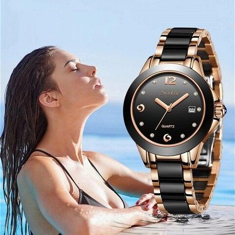 Relógios para Mulheres de Aço Reloj de Dama Top de Luxo da Marca Sunkta Quartz Mulheres Relógios Cerâmica Inoxidável Senhoras Boutique Bracelet Ver