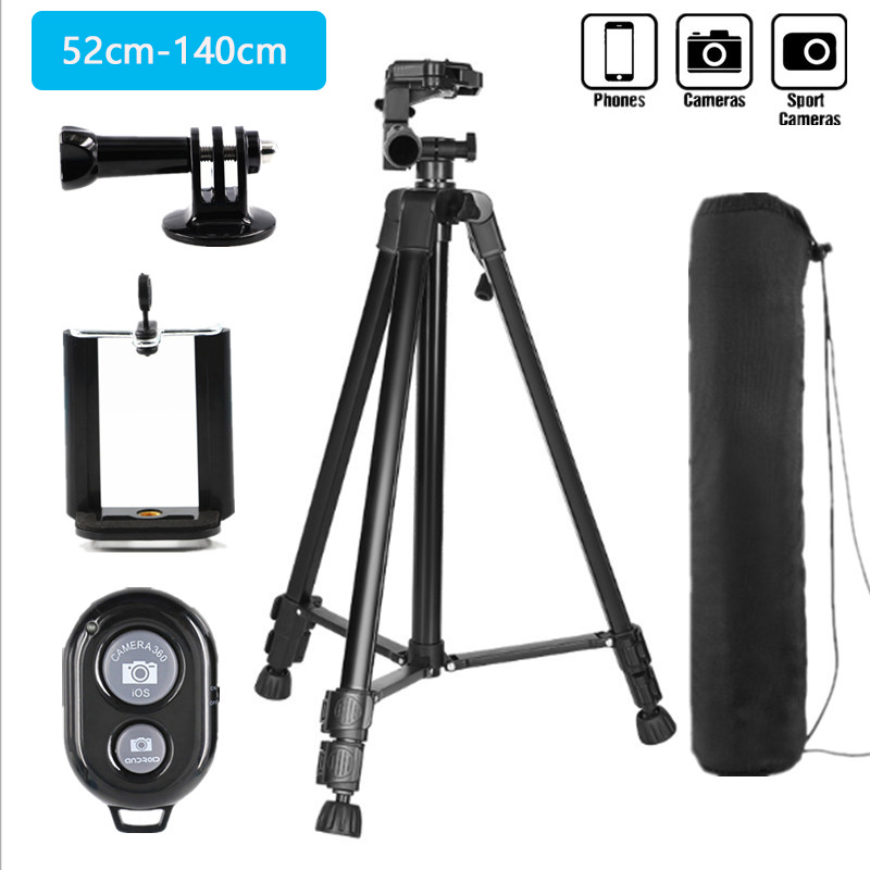 Cell <font><b>Phone</b></font> <font><b>Tripod</b></font> 55inch Selfie Tripode with Bluetooth <font><b>Remote</b></font> Panorama Pan Head Travel Portable <font><b>Tripod</b></font> Stand <font><b>for</b></font> Mobile Camera image