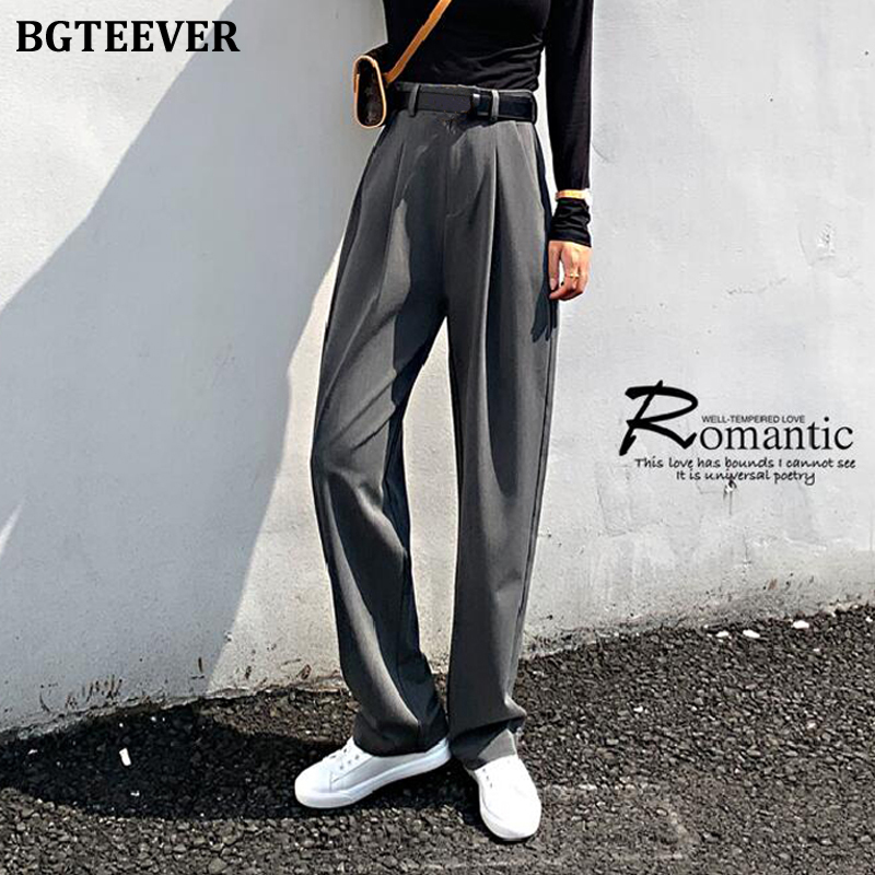 BGTEEVER Chic High Waist Loose Straight Pants Women Office Ladies Suit Pant 2020 Spring Female Long Trousers Pantalon Femme