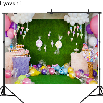Lyavshi Newborn Baby Photography Backdrops Ice Cream Candy Photo Background Birthday party Shower Studio Props - discount item  42% OFF Camera & Photo