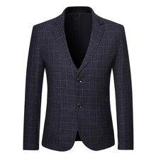 Клетчатый блейзер с принтом, верхняя одежда, деловая куртка, мужской стиль, отложной воротник, длинный рукав, повседневный костюм, приталенное пальто, куртка# g4