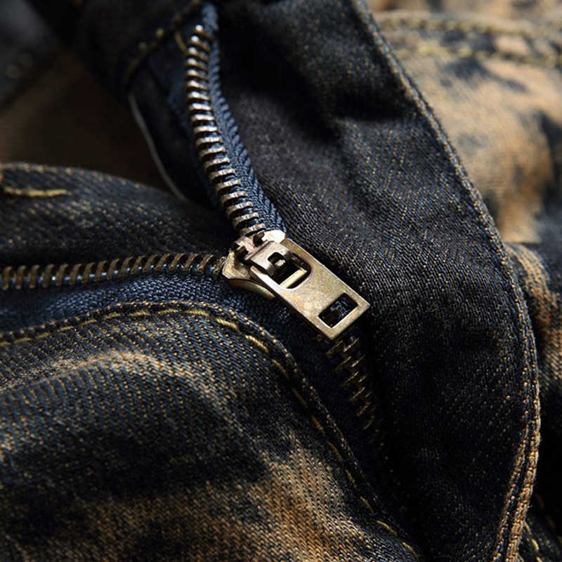 Gersri Uomini jeans vintage di modo barba effetto jogger giallo distressed denim dei pantaloni di marca del ricamo più i jeans di formato 29-42