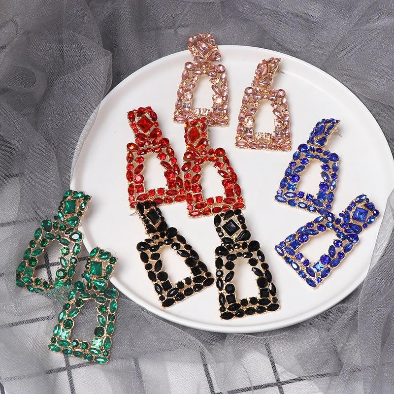 2019 Vintage Earrings Large Women Statement Earring Geometric Big Crystal Hanging Drop Wedding Earrings Trend Fashion Jewelry