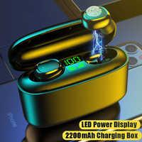 TWS Bluetooth Earphone Stereo Wireless Headphones Sport Waterproof Earphones Mini True Wireless Earbuds 2200mAh Case for phone