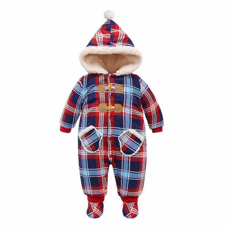 IYEAL Navidad bebé niña ropa invierno mamelucos niños recién nacidos mono a cuadros engrosamiento de algodón cálido Romper para 0-18M