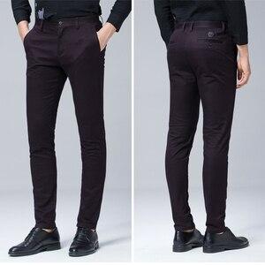 Image 5 - 高品質冬厚みの暖かいカジュアルパンツ男性スリムフィットチノカジュアルスーツのズボンの男性