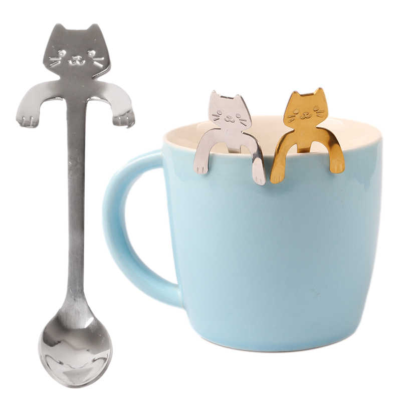 Cuillère à café et à thé 3 couleurs chat mignon, Mini cuillère créative à Long manche, outils pour boire, Gadget de cuisine, cuillère de table en acier inoxydable