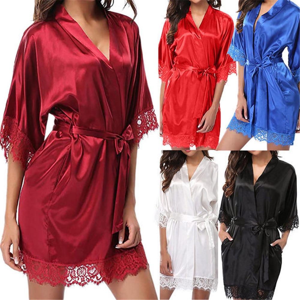 Новое горячее сексуальное нижнее белье, искусственное атласное кружевное черное кимоно, интимная одежда для сна, халат, сексуальное ночное ...