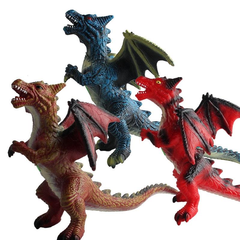 36cm Simulation Double-headed Dragon Dinosaur Colorful Animal Pvc Toy Doll Model Children's Halloween Gift JM315