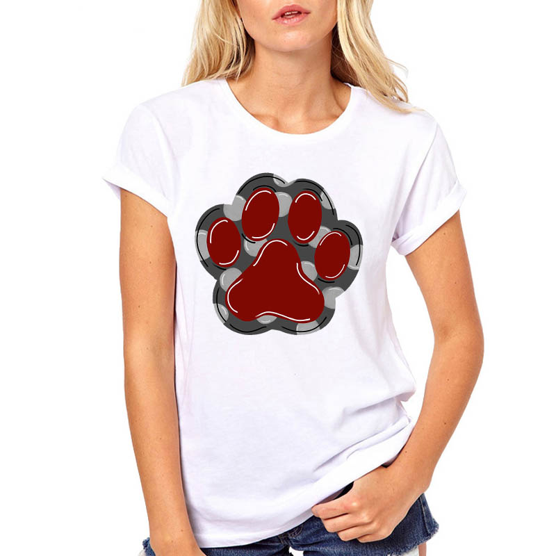 Never Walk Alone Dog Paw Print Pet Women Tshirt Casual Funny T Shirt For Lady Girl Top Tee Hipster