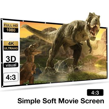 New 150 Inch 4:3 Portable Folding Movie Screen HD Crease-resist 4K Indoor Outdoor Projector Screen For Home Theatre Projector excelvan 150 inch 16 9 collapsible pvc hd portable home and outdoor use projector screen with hanging hole for front projection