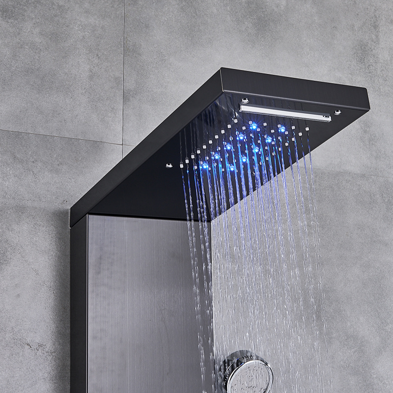 Hda2b56eee8334f4d8eb4fd1eae58d298A Newly Luxury Black/Brushed Bathroom Shower Faucet LED Shower Panel Column Bathtub Mixer Tap With Hand Shower Temperature Screen