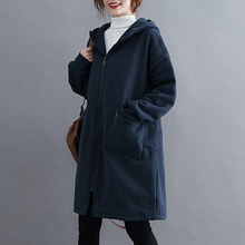 Elifashion Literary Wide Solid Color Hooded Long-sleeved Zipper Mid-length Cardigan Women Jacket For autumn & Spring