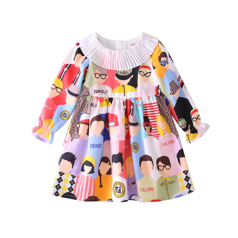 F Elegant Girls Floral Printed Dress 19 Autumn Clothing New Style zhe zhou ling Long Sleeve GIRL'S Dress Children Baby Princess on AliExpress