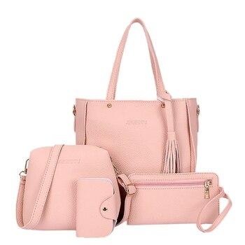 4pcs Women Lady Fashion Handbag Shoulder Bags Tote Purse Messenger Satchel Set 1