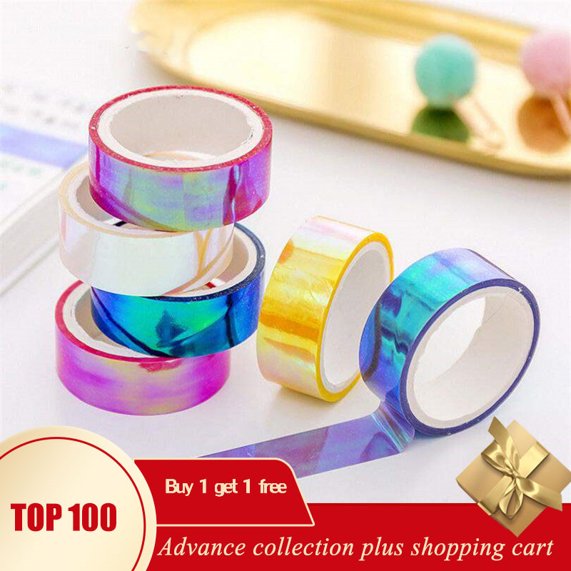Wash Tape Papel Adesivo Winterdecoracion Japonesa Celo De Colores Autumn Laser Rainbow Pink Japan Decoration Przybory Szkolne