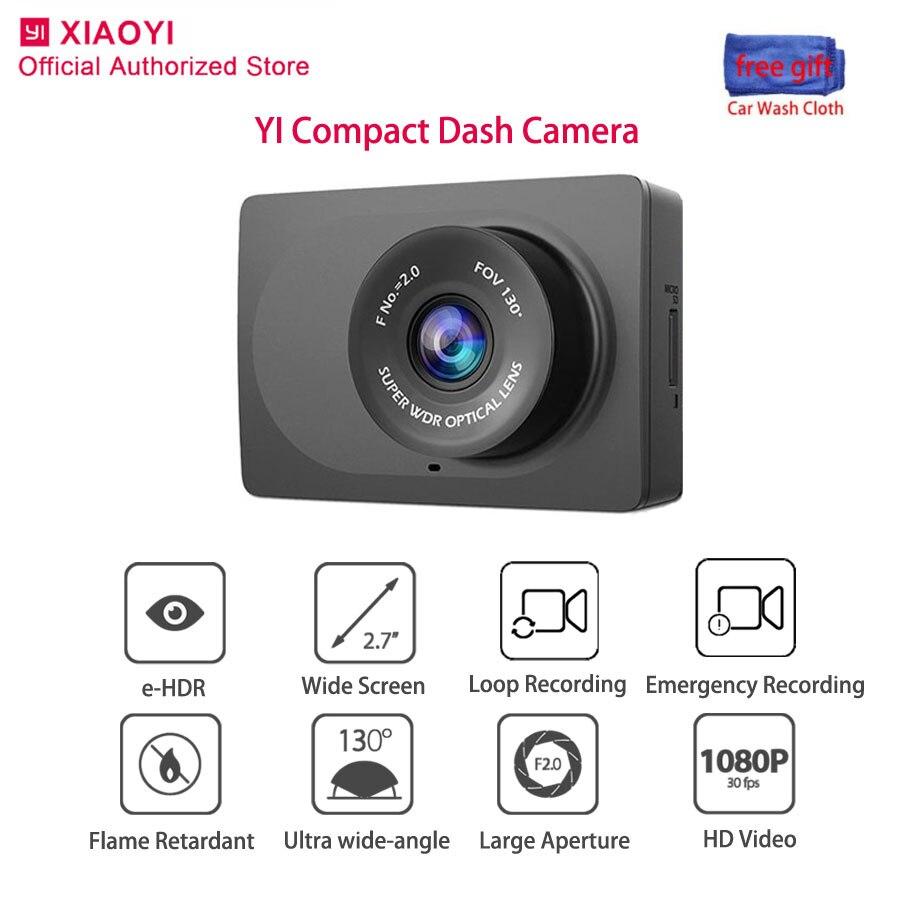 Original yi compacto traço cam visão noturna câmera do carro inteligente 1080 p grande angular dashcam gravação automática gravador de vídeo 2.7 polegada dvr