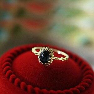 LAMOON Ring For Women Black Agate Retro Style Black Crystal S925 Sterling Silver Fine Jewelry Birthstone LMRI129