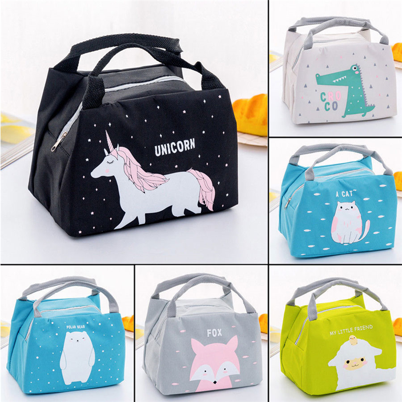 SchooI Office Lunch Bag Waterproof Lunchbox Kids Adult Insulated Cooler Bag Box Canvas Picnic Tote Cooler