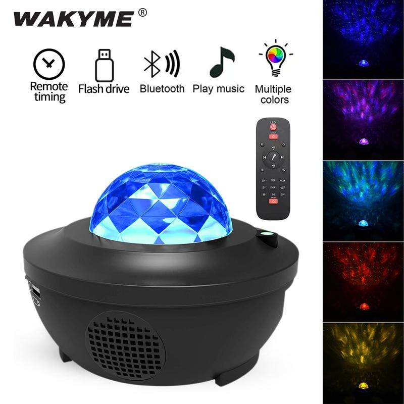 WAKYME Starry Sky Night Light LED Projector Colorful Star Moon Nightlight Flashing Lamp