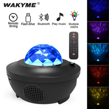 WAKYME Starry Sky Night Light LED Projector Colorful Star Moon Nightlight Flashing Lamp Remote Control Bluetooth Music Player