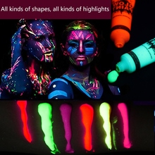 6 Colors UV Blacklight Reactive Face & Body Glow Safe Non-Toxic Paint Art Party Club Halloween Dress Makeup Luminous Painting colopaint 8 colors face painting kits parties makeup non toxic paint 8 vibrant colors with brushes for kids face make up