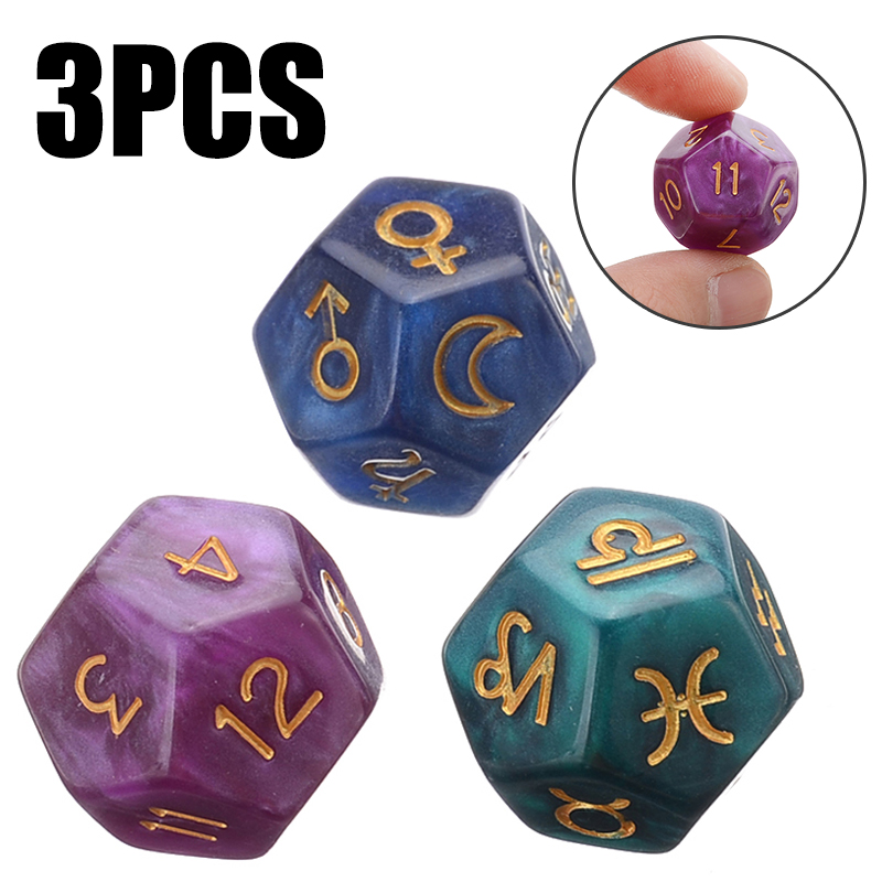 3pc/set Pearl 12-sided Astrology Zodiac Signs Dice For Constellation Divination Toys Creative Multi Sided Dice For Astrologers