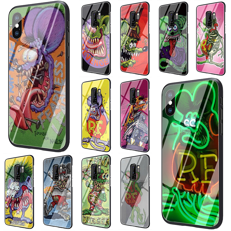 Tales of the Rat Fink Tempered <font><b>Glass</b></font> Phone <font><b>Case</b></font> for <font><b>Samsung</b></font> S7 edge S8 9 10 Note 8 9 10 plus A10 20 30 40 50 60 <font><b>70</b></font> image