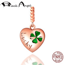 цена на New Design 925 Sterling Silver Love Heart Lucky Clover Charms Beads Fit Women Bracelet DIY Necklace Jewelry