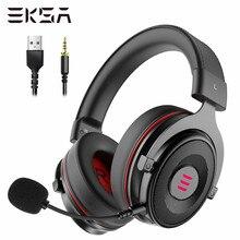 Eksa gaming headset gamer e900 pro fone de ouvido 7.1 surround som com fio fones led usb/3.5mm fones de ouvido com microfone para xbox pc ps4