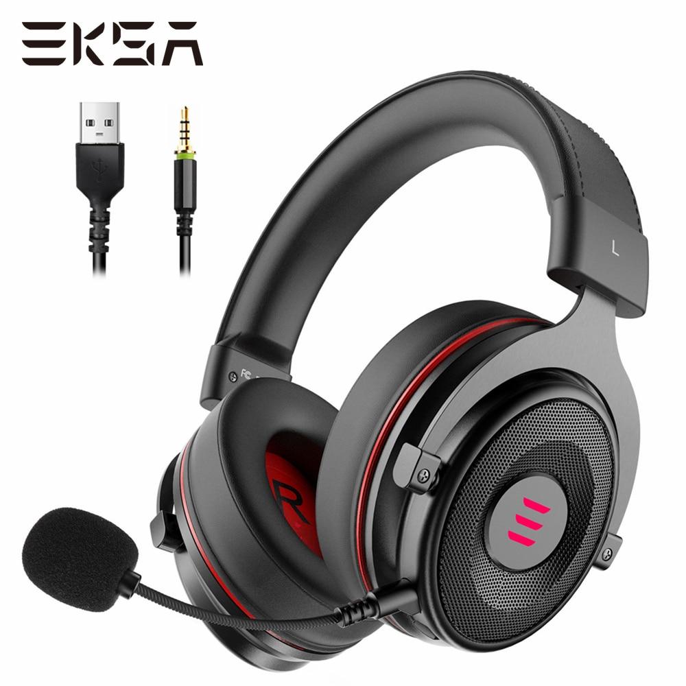 Игровая гарнитура EKSA E900 Pro 7,1 с микрофоном, игровая гарнитура с объемным звучанием, проводные наушники USB/3,5 мм для ПК, PS4, Xbox one, наушники