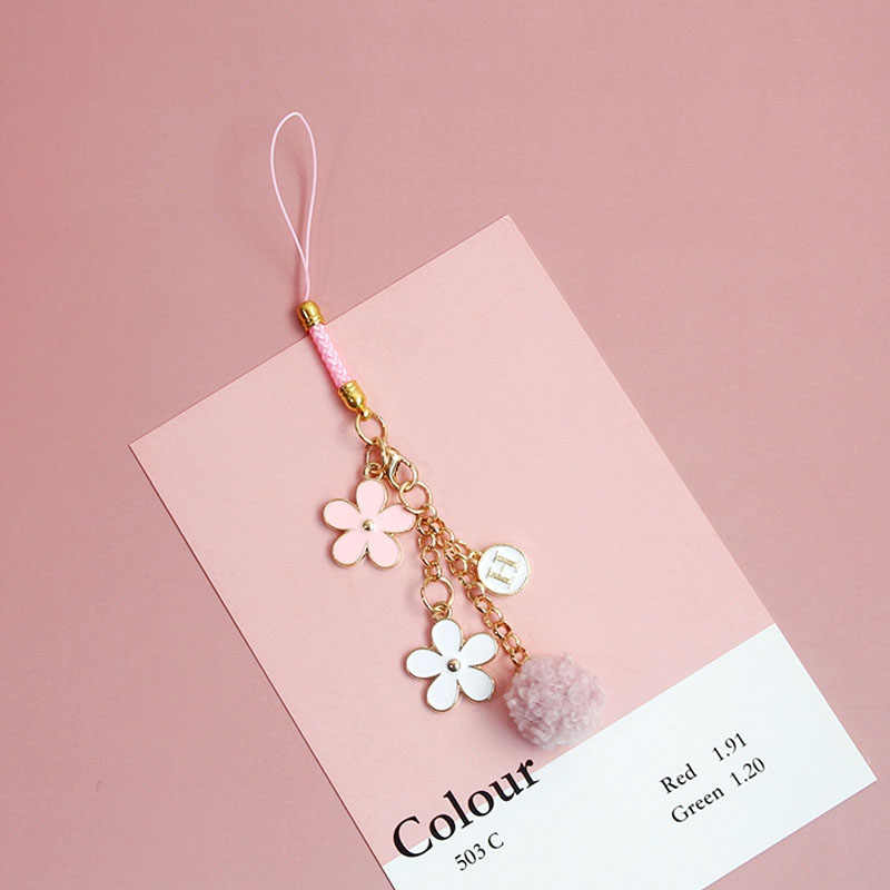 Cute Korean Smart phone Strap Lanyards for iPhone Samsung Keys Decoration Daisy Mobile Phone Strap Hang Rope Phone Charm Gifts