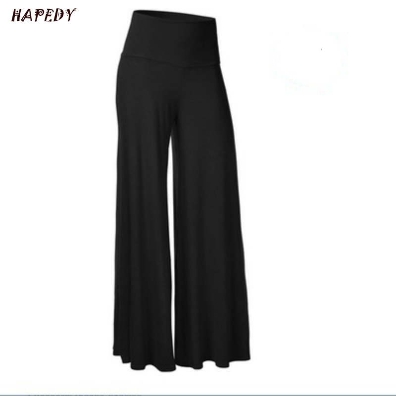 Womens Plus Size High Waist Wide Leg Maxi Long Pants Solid Color Office Lady Loose Stretch Pleated Palazzo Lounge Trousers S-4XL