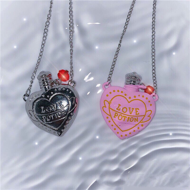 New Ins Hip-hop Three-dimensional Pink Heart Bottle Necklace Love Letter Bottle Pendant Necklaces For Women Fashion Jewelry